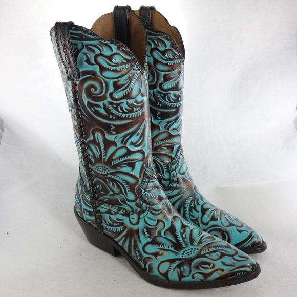 09b7e9b5804 Patricia Nash Bergamo Turquoise Tooled Mid Boots NWT